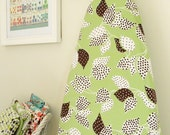 LAST ONE SALE - Ironing Board Cover - Flea Market Fancy - Leaf and Dot in Green and Brown