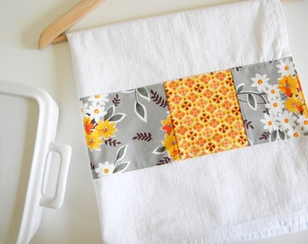 Kitchen Towel in Flea Market Floral Bouquet Patchwork - Orange and Grey