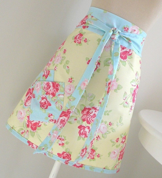 Pretty Pastel Half Apron in blue and yellow