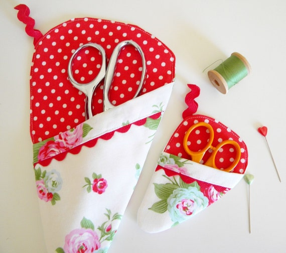 Set of Two Scissor Sleeves - Bijou in White and Red