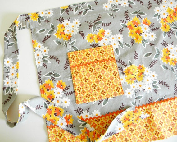 Half Apron - Flea Market Fancy Floral Wrap in grey and orange