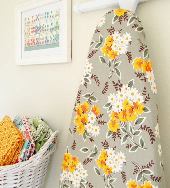 Ironing Board Cover - Flea Market Fancy - Bouquet in Grey