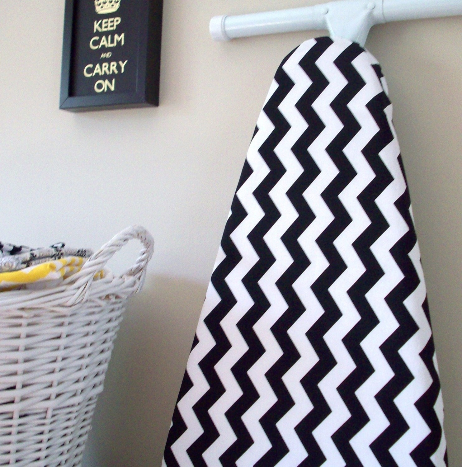 ironing board cover black and white chevron riley blake. Black Bedroom Furniture Sets. Home Design Ideas