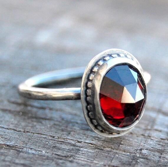 Rose cut Garnet Sweetheart Ring