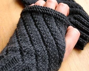 Knitting Pattern - Fingerless Gloves - Mitts Gauntlets - Knitting Pattern for Men or Women - DIY Tutorial