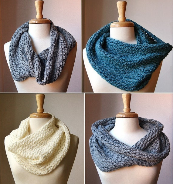 Knitted Infinity Cowl Pattern : KNITTING PATTERN Knit Cowl Neckwarmer Scarf by AtelierTPK