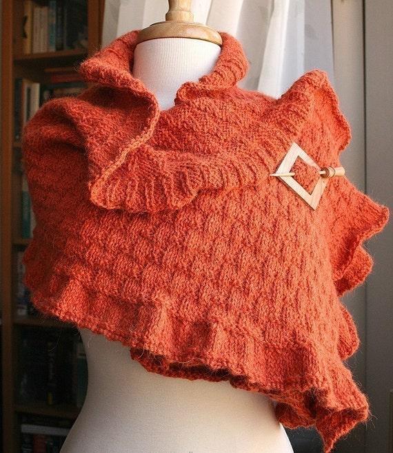 DIY Knitting Tutorial for Elegant Ruffle Shawl / ROCOCO Knit Shawl / Scarf Wrap Knitting Pattern / Instant PDF Pattern Download, Hygge
