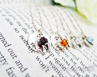 Hand Stamped Bridesmaids Necklace Gift Set - Custom Sterling Silver With Swarovski Crystal, Horse Shoe, Match Wedding Colors - Price Break