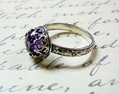 Roxy Ring - Beautiful Gothic Vintage Sterling Silver Floral Band Ring with Rose cut Purple Amethyst and Heart Bezel