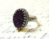 Gothic Sterling Silver Ring with Large Oval Titanium Purple Drusy Quartz Druzy