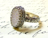 Cassandra Ring - Gothic Sterling Silver Ring with Large Oval White Opal Titanium Drusy Quartz Druzy