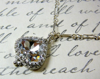 Antique Sterling Silver Necklace with Swarovski Crystal Pendant Tiara Crown like Bezel