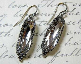 Vintage Sterling Silver Tiara Crown like bezel Swarovski Crystal Long Oval Earrings - Wedding