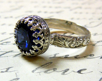 Elizabeth Ring - Vintage Engagement Sterling Silver Created Sapphire Ring with Tiara Crown like bezel - Wedding