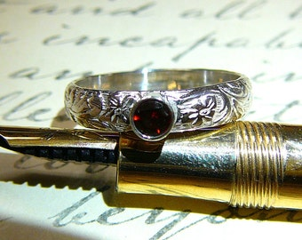 Willow Ring - Vintage Sterling Silver Floral Stack Band with Red Garnet January Birthstone