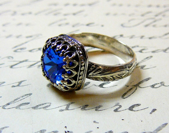 Ana Ring - Vintage Sterling Silver Floral Band Sapphire Blue Swarovski Crystal Ring with Tiara Crown like bezel