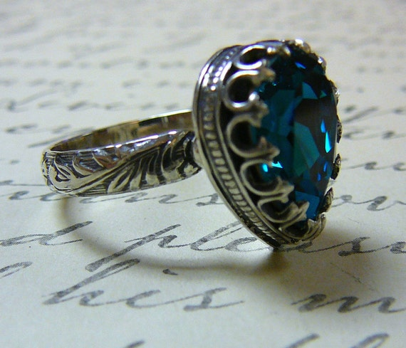 Gothic Medieval Vintage Sterling Silver Blue Zircon Swarovski Crystal Ring with Floral Band