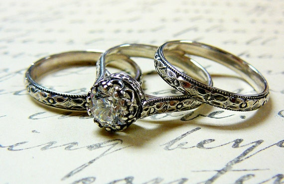 Georgiana Ring Trio - Vintage Engagement Sterling Silver Swarovski CZ with matching Floral Band with Tiara Crown like bezel - Wedding