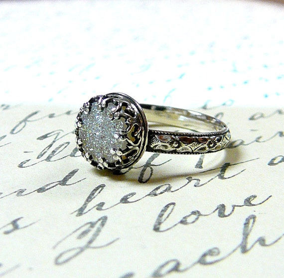 Cassie Ring - Gothic Sterling Silver Ring with Heart Bezel and White Opal Titanium Drusy Quartz Druzy