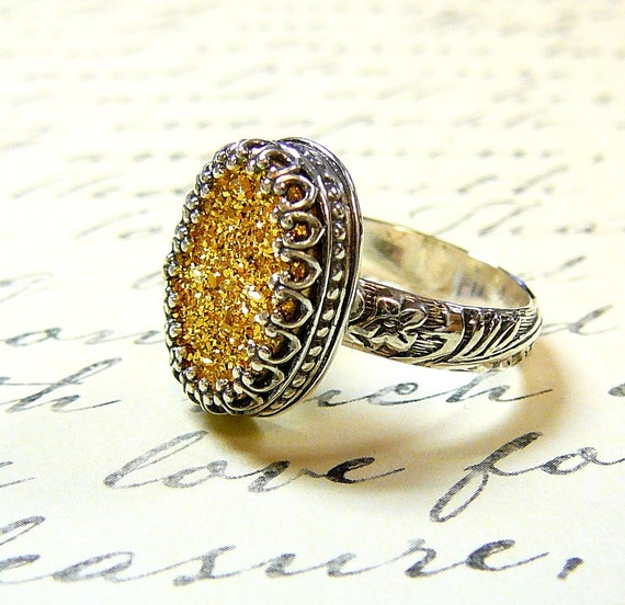 Cassandra Ring - Gothic Sterling Silver Ring with Large Oval Gold Drusy Quartz Druzy