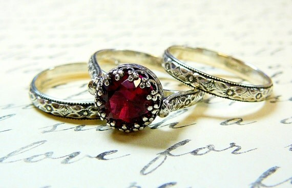 Selene Ring - Vintage Engagement Sterling Silver Trio with a Beautiful 8 mm Pink Ruby