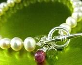 Secret Garden Bracelet - Pearls Tourmaline Silver  toggle clasp