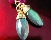Ruby Labradorite Filigree Gold Earrings - The Shield
