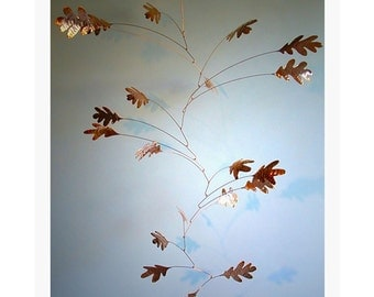 Free Shipping on Handmade Copper Oak Mobile 21 Oak Leaves