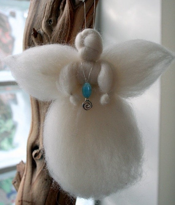 White guardian angel made from wool