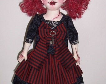 OOAK Gothic Cloth Doll By Charie Wilson