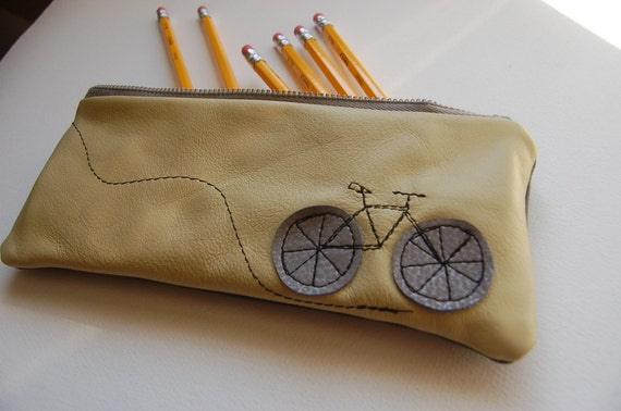 little bike repurposed leather pouch