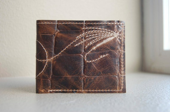 reserved for geoffrykb--the perfect cast repurposed leather wallet