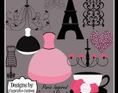 Paris Inspired Elegant Clipart Commercial use for Cards, Stationary and Paper Products Instant Download