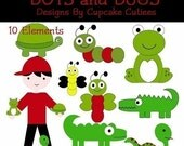 Bugs and Boys Clipart Commercial use for Cards, Stationary and Paper Products Instant Download