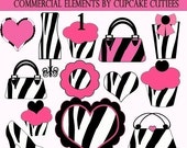 Zebra Fun Girly Pink Digital Clipart Elements Commercial use Instant Download