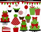 Christmas Chic Birthday - Digital Clipart Elements Instant Download