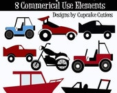 Dads Toys  Clipart Commercial Use-  Cars boats Jeep and Racing INstant DownLoAd