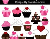 I heart Cupcakes Element Clip art Digital Embellishments Commercial use Instant Download