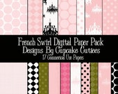 French Swirl  Digital Collage Sheets 8.5 by 11 Sheets Set of 17 Digital Papers Instant Download