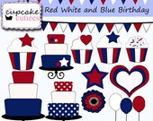 Red White and Blue  Birthday  Digital Clipart Elements Commercial use Instant Download