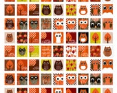 Fall Owls N trees  Digital Collage Sheet .75 by .83 Square Tiles for Original Scrabble tiles