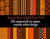 Autumn Mega Pack  Damask Digital Collage Sheets 8.5 by 11 Sheets Instant Download