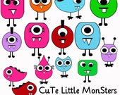 Cute Little Monsters Digital Clipart Elements and Papers Commercial use Instant Download