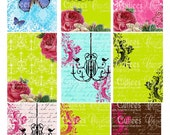 Modern Whimsy  Damask Paper ATC digital Collage Sheets  ATC cards 2.5 X 3.5