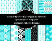 Holiday Sparkle BLUE  Digital Collage Sheets 12 x 12 Set of  Digital Papers Instant Download