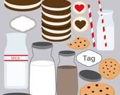 Milk and cookies Digital Elements Clip art clipart Elements Instant Download