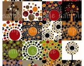 Fall Dots n trees Collage Sheet 2 by 2 inch Square Autumn Modern Designs Instant Download