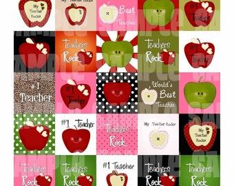 Apple For Teacher Digital Collage Sheet 1.5 Square Designs CHOOSE SIZE