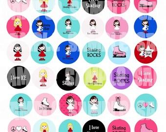 I love Ice Skating Digital Collage Sheet-1 inch Circles Figure Skating Designs