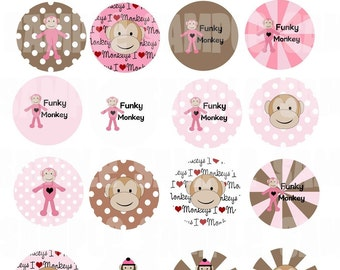 Funky Monkey PINK  Digital Collage Sheet 1.5 inch Circles Instant Download